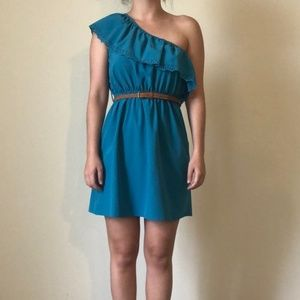 RHAPSODY One Shoulder Blue Dress with Brown Belt